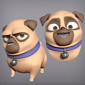 3D Cartoon character pug