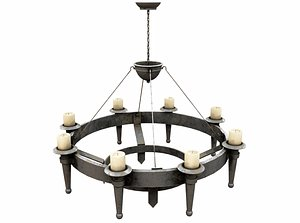 3D Medieval Candle Chandelier