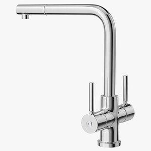 3D Angular Dual Lever Sink Mixer Tap Chrome