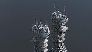 scifi building 3D