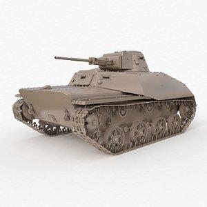 Tank T 40 Soviet Clay VRay 3D model