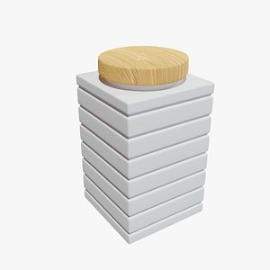 Jar with Wooden Cover 3D
