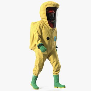 3D Heavy Duty Chemical Protective Suit Walking Pose Yellow