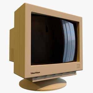 vintage pc monitor 3D model