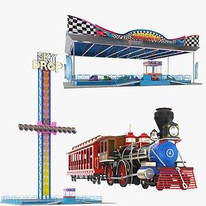 3D Three Theme park Rides model
