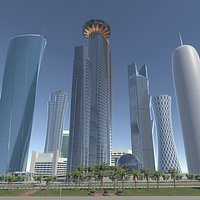 Doha, Qatar skyscrapers real-time scene