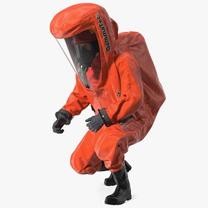 Heavy Duty Chemical Protective Suit Squat Pose Red model