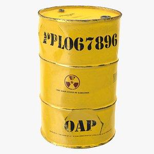 old radioactive waste barrel 3D model