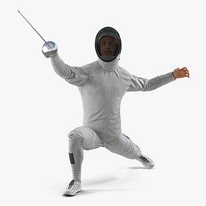 3D model Olympic Men Fencer Rigged 3D Model for Maya