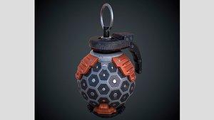 3D Spherical Scifi Grenade PBR