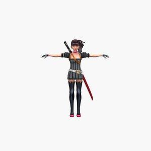 Ninja Anime Girl 3D model