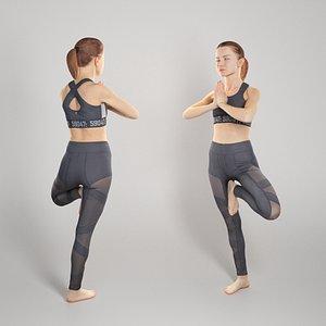 3D Sporty woman doing yoga routine 294