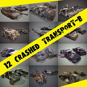 pack wrecked cars low-poly model