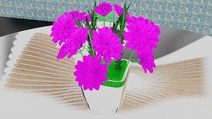 3D Flower Vase Low-poly model