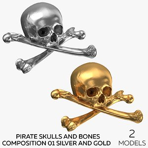 3D Pirate Skulls and Bones Composition 01 - Silver and Gold