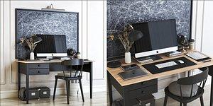 3D model office desk chair table
