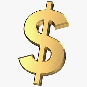 dollar currency symbol gold 3D model