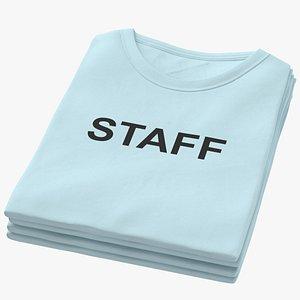Female Crew Neck Folded Stacked Blue Staff 01 model