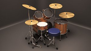 acoustic drum kit 3D model