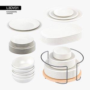 3D dishes kitchen set