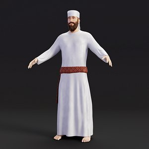 3D temple priest model