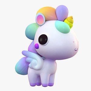 3D cute cartoon unicorn pegasus model