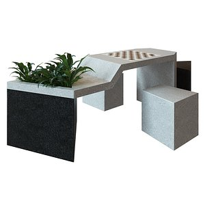 concrete chess table with two benches 3D model