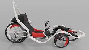 Red-White Modern Electric Trike Bike 3D model
