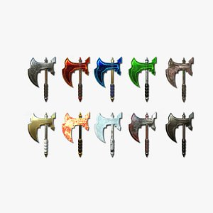 10 Medieval Battle Axe Collection - Fantasy Weaponry 3D