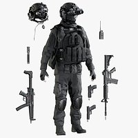 Military Man Black Uniform With Equipment