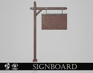 3D Medieval Signboard v6 model