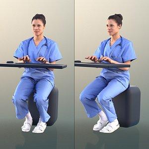 3D 10898 Diana - Nurse Sitting Typing On Keyboard
