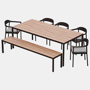 3D illum dining table chair model
