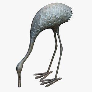 bronze heron 3D