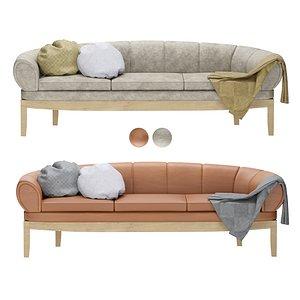 3D GUBI CROISSANT SOFA Leather sofa set  2 colors