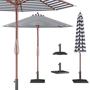 3D model Parasol with Bases 1