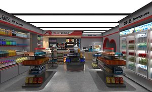 3D Supermarket  convenience store store mall    concession stand shelf container
