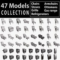 Collection Stoves Chairs Ottomans 47 3D models