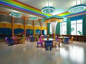 Kindergarten Parent-child activity room Primary school kindergarten building Kindergarten classroom 3D