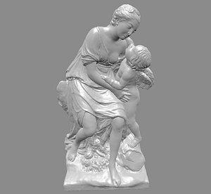 3D pigalle sculpture statue friendship