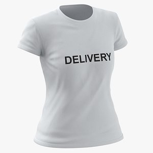 3D Female Crew Neck Worn White Delivery 02 model