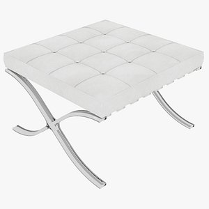 Knoll White Leather Barcelona Stool Ottoman 3D model