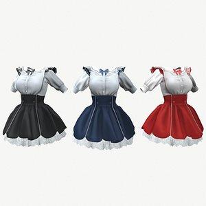 Gothic-loli dress - 3 colors 3D model
