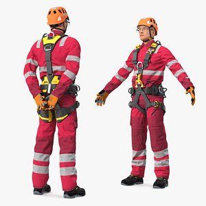 Alpinist Worker Rigged 3D model