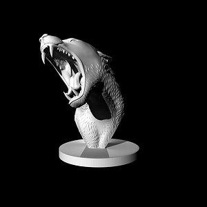 3D bust of a lioness 3D model