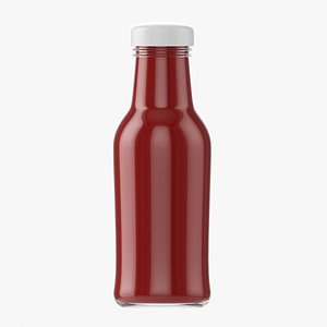 Barbecue sauce in glass bottle 13 model