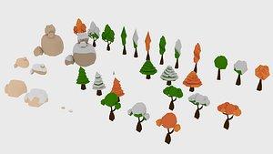 3D stones trees