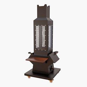 3D Rocket Type Fireplace