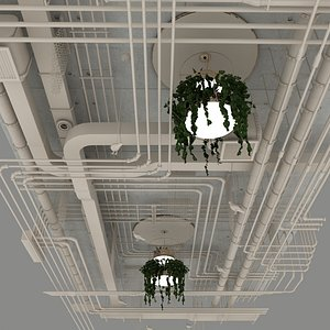 Pipes industrial ceiling 3D