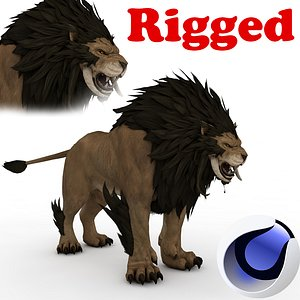 Saber Tooth Lion Rigged 3D model